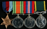 Joseph Kinsella : (L to R) 1939-45 Star; 1939-45 Defence Medal; 1939-45 War Medal; Efficiency Medal