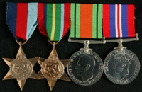 George Lane : (L to R) 1939-45 Star; Pacific Star; 1939-45 Defence Medal; 1939-45 War Medal