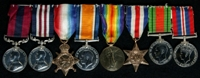 Edward Louis Lavelle : (L to R) Distinguished Conduct Medal; Military Medal; 1914-15 Star; British War Medal; Allied Victory Medal; France and Germany Star; 1939-45 Defence Medal; 1939-45 War Medal