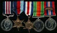 Raymond Leeson : (L to R) Military Medal; 1939-45 Star; France and Germany Star; 1939-45 Defence Medal; 1939-45 War Medal with 'Mentioned in Despatches' oak leaf