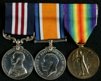 Joshua Lewis : (L to R) Military Medal; British War Medal; Allied Victory Medal
