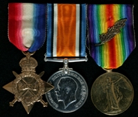 Arthur Robert Lloyd : (L to R) 1914-15 Star; British War Medal; Allied Victory Medal with 'Mentioned in Despatches' oak leaves