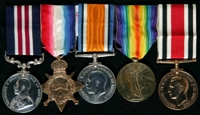 Percy Lockett : (L to R) Military Medal; 1914-15 Star; British War Medal; Allied Victory Medal; Special Constabulary Long Service Medal