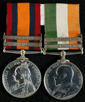 Thomas McGuire : (L to R) Queen's South Africa Medal with clasps 'Defence of Ladysmith', 'Belfast'; King's South Africa Medal with clasps 'South Africa 1901', 'South Africa 1902'