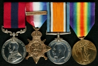 John William Newman : (L to R) Distinguished Conduct Medal; 1914 Star with clasp '5th Aug.-22nd Nov. 1914'; British War Medal; Allied Victory Medal