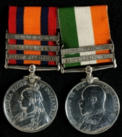 Harry Newton : (L to R) Queen's South Africa Medal with clasps 'Relief of Ladysmith', 'Laing's Nek', 'Belfast'; King's South Africa Medal with clasps 'South Africa 1901', 'South Africa 1902'