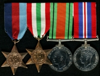 Leslie James Nicholson : (L to R) 1939-45 Star; Italy Star; 1939-45 Defence Medal; 1939-45 War Medal