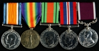 Albert Edward Palmer : (L to R) British War Medal; Allied Victory Medal; 1939-45 Defence Medal; 1939-45 War Medal; Long Service and Good Conduct Medal