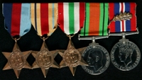 John Brooke Patchett  : (L to R) 1939-45 Star; Africa Star; Italy Star; 1939-45 Defence Medal; 1939-45 War Medal with 'Mentioned in Despatches' oak leaf