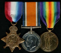 Arthur Dudley Pearce : (L to R) 1914 Star; British War Medal; Allied Victory Medal