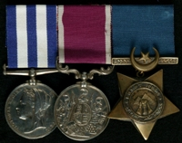 George Pearce : (L to R) Egypt Medal; Long Service and Good Conduct Medal; Khedive's Star