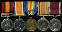 James Pearce : (L to R) Queen's South Africa Medal with clasp 'Defence of Ladysmith'; British War Medal; Allied Victory Medal; 1939-45 Defence Medal; Long Service and Good Conduct Medal