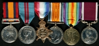William Joseph Pearce : (L to R) Queen's South Africa Medal with clasp 'Natal'; Delhi Durbar 1911 Medal; 1914 Star; British War Medal; Allied Victory Medal; Long Service and Good Conduct Medal