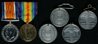 Walter Pearson : (L to R) British War Medal; Allied Victory Medal; Edward VII Commemorative Coronation Medal, Mossley Corporation; George V Commemorative Coronation Medal, Mossley Corporation; Edward VIII Commemorative Coronation Medal, Mossley Corporation; George VI Commemorative Coronation Medal, Mossley Corporation