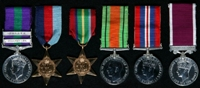 Arthur Phillips : (L to R) General Service Medal 1918-62 with clasps 'Palestine', 'Malaya'; 1939-45 Star; Pacific Star; 1939-45 Defence Medal; 1939-45 War Medal; Long Service and Good Conduct Medal