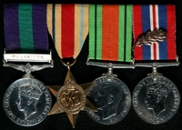 Sidney Ray : (L to R) General Service Medal 1918-62 with clasp 'Palestine'; Africa Star; 1939-45 Defence Medal; 1939-45 War Medal with 'Mentioned in Despatches' oak leaf