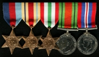 George Rayner : (L to R) 1939-45 Star; Africa Star; Italy Star; 1939-45 Defence Medal; 1939-45 War Medal
