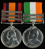 John Rheubottom : (L to R) Queen's South Africa Medal with clasps 'Elandslaagte', 'Defence of Ladysmith', 'Belfast'; King's South Africa Medal with clasps 'South Africa 1901', 'South Africa 1902'