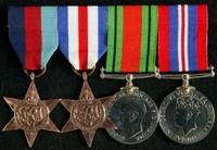 Edwin Roberts : (L to R) 1939-45 Star; France and Germany Star; 1939-45 Defence Medal; 1939-45 War Medal