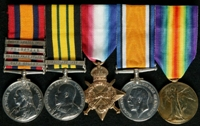 Alfred Barnes Rose : (L to R) Queen's South Africa Medal with clasps 'Cape Colony', 'Orange Free State', 'Transvaal', 'South Africa 1901'; Africa General Service Medal with clasp 'Somaliland 1908-10'; 1914-15 Star; British War Medal; Allied Victory Medal