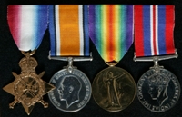Herbert Alfred Ross : (L to R) 1914-15 Star; British War Medal; Allied Victory Medal; 1939-45 War Medal