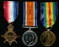 James Rowbottom : (L to R) 1914-15 Star; British War Medal; Allied Victory Medal
