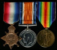 Valentine Rowe : (L to R) 1914-15 Star; British War Medal; Allied Victory Medal