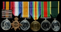 James Alfred Ruddock : (L to R) Queen's South Africa Medal with clasps 'Cape Colony', 'Orange Free State', 'South Africa 1901', 'South Africa 1902'; 1914-15 Star; British War Medal; Allied Victory Medal; 1939-45 Defence Medal; Territorial Efficiency Medal