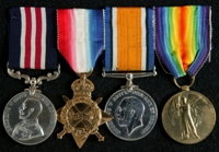 Cornelius Scholey : (L to R) Military Medal; 1914-15 Star; British War Medal; Allied Victory Medal