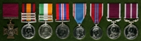 Robert Scott  : (L to R) Victoria Cross; Queen's South Africa Medal with clasps 'Elandslaagte', 'Defence of Ladysmith', 'Belfast'; King's South Africa Medal with clasps 'South Africa 1901', 'South Africa 1902'; 1939-45 War Medal; 1937 Coronation Medal; 1953 Coronation Medal; Long Service and Good Conduct Medal; Meritorious Service Medal