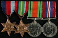 John Shackleton : (L to R) 1939-45 Star; Pacific Star; 1939-45 Defence Medal; 1939-45 War Medal
