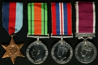 Herbert Francis Smith : (L to R) 1939-45 Star; 1939-45 Defence Medal; 1939-45 War Medal; Long Service and Good Conduct Medal