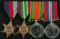 Roland Smith : (L to R) 1939-45 Star; Pacific Star; 1939-45 Defence Medal; 1939-45 War Medal