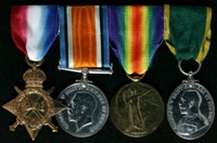 Arthur Taylor : (L to R) 1914-15 Star; British War Medal; Allied Victory Medal; Territorial Efficiency Medal
