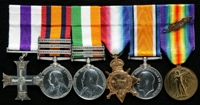 Samuel Taylor : (L to R) Military Cross; Queen's South Africa Medal with clasps 'Elandslaagte', 'Defence of Ladysmith', 'Belfast'; King's South Africa Medal with clasps 'South Africa 1901', 'South Africa 1902'; 1914-15 Star; British War Medal; Allied Victory Medal with 'Mentioned in Despatches' oak leaves