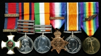 Henry Charles Webb Theobald : (L to R) Distinguished Service Order; Queen's South Africa Medal with clasps 'Cape Colony', 'Defence of Ladysmith', 'Orange Free State', 'Transvaal'; King's South Africa Medal with clasps 'South Africa 1901', 'South Africa 1902'; 1914 Star with clasp '5th Aug.-22nd Nov. 1914'; British War Medal; Allied Victory Medal with 'Mentioned in Despatches' oak leaves