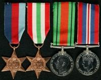 Albert Todkill : (L to R) 1939-45 Star; Italy Star; 1939-45 Defence Medal; 1939-45 War Medal