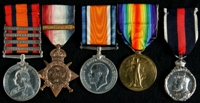 Charles Fitzgerald Hamilton Trueman : (L to R) Queen's South Africa Medal with clasps 'Cape Colony', 'Transvaal', 'Wittebergen', 'South Africa 1901'; 1914 Star with clasp '5th Aug.-22nd Nov. 1914'; British War Medal; Allied Victory Medal; 1911 Coronation Medal