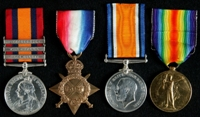 Joseph Verity : (L to R) Queen's South Africa Medal with clasps 'Cape Colony', 'Transvaal', 'Wittebergen'; 1914-15 Star; British War Medal; Allied Victory Medal
