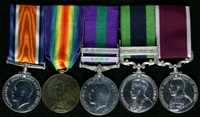 William Charles Walton : (L to R) British War Medal; Allied Victory Medal; General Service Medal 1918-62 with clasps 'Iraq', 'N. W. Persia'; India General Service Medal with clasp 'Burma 1930-32'; Long Service and Good Conduct Medal