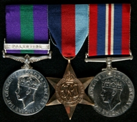 John Warburton : (L to R) General Service Medal 1918-62 with clasp 'Palestine'; 1939-45 Star; 1939-45 War Medal