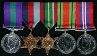 James Kenneth Waugh : (L to R) General Service Medal 1918-62; 1939-45 Star; Pacific Star; 1939-45 Defence Medal; 1939-45 War Medal