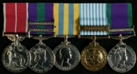 Allan White : (L to R) British Empire Medal (Military Division); General Service Medal 1918-62 with clasps 'Malaya', 'Arabian Peninsula';  Korea Medal; United Nations Korea Medal; General Service Medal 1962-2007 with clasp 'Northern Ireland'
