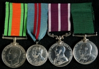 Thomas George White : (L to R) 1939-45 Defence Medal; 1911 Coronation Medal; Meritorious Service Medal; Volunteer Long Service and Good Conduct Medal