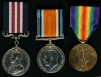 William Whittaker : (L to R) Military Medal; British War Medal; Allied Victory Medal