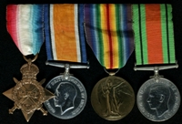 Walter Whyatt : (L to R) 1914-15 Star; British War Medal; Allied Victory Medal; 1939-45 Defence Medal