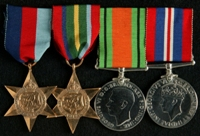 Sydney Wilkinson : (L to R) 1939-45 Star; Pacific Star; 1939-45 Defence Medal; 1939-45 War Medal